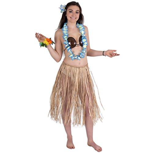 Hawaiian Costume Coconut Bra (Deluxe Tropical Luau Coconut Bra Raffia Skirt 5pc Hula Costume, X-Large 42