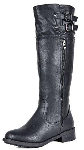 DREAM PAIRS Women's New Bradenn Black Knee High Double Buckles Zipper Boots Size 8 B(M) US