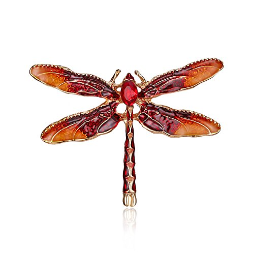 MINGHUA Pretty Enamel Red Blue Dragonfly Brooch Pin Charm Women Men Pin Jewelry (Red)