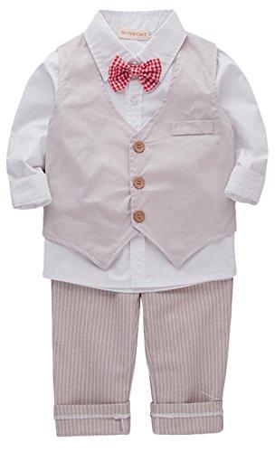 Shirt Khaki Pants (Baby Kid Boy Khaki and White Formal Wear Shirt Vest and Pants 3-Piece 6-12Months White)