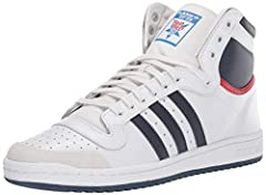 The men's Top Ten Hi shoes take to the streets with synthetic 3-Stripes and the original padded tongue that shows off a Top Ten logo. They feature a full grain leather upper, a semi-shiny synthetic ankle insert and a herringbone-pattern outso...