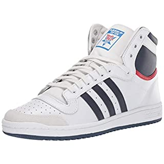 adidas Originals Men's Top Ten Hi Sneaker, Neo White/New Navy/Collegiate red, 11 M US