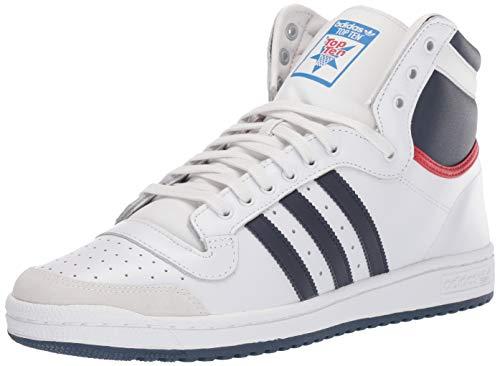 adidas Originals Men's Top Ten Hi Sneaker, Neo White/New Navy/Collegiate red, 12 M US
