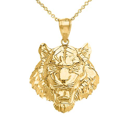 Bold 10k Yellow Gold Roaring Tiger Head Charm Pendant Necklace (Small), 20
