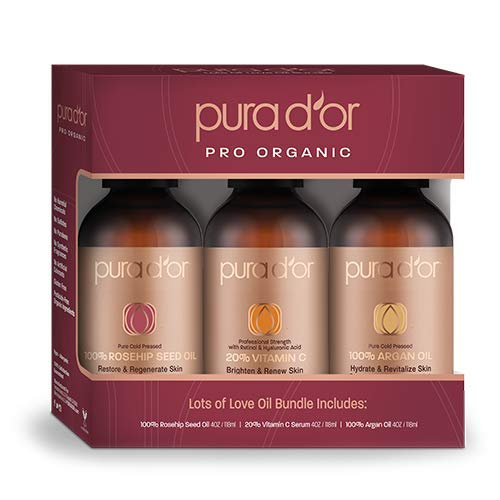PURA D'OR 100% Argan Oil, Rosehip Seed Oil & Vitamin C Serum 3-Piece Gift Set, Anti-Aging Moisturizing Treatments for Face, Hair, Skin & Nails, Men & Women (Packaging may vary)