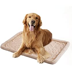 Giantex Padded Pet Bed For Dogs Cushion Mat Warm Soft Dog Cat Bed, Beige (S)
