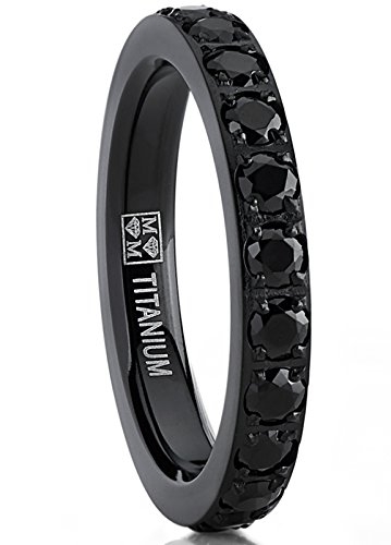 3MM Ladies Black Titanium Eternity Engagement Band, Wedding Ring with Black Pave Set Cubic Zirconia 9