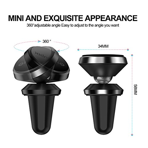 Humixx Magnetic Phone Holder for Car, 360° Adjustable Air Vent Cellphone Car Mount Holder for iPhone 8 8 Plus 7 7 Plus,Samsung S7 S8, HTC, LG, ZTE [Easy Clamping Series] (Black) by Humixx (Image #1)
