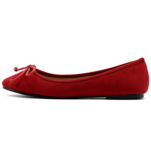 Ballet Suede Flat Shoe Ollio Red Ribbon Faux Women's XPxqt6