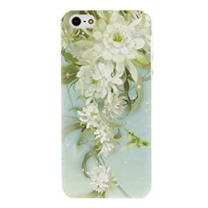 Green Flower Pattern Transparent Frame PC Hard Case for iPhone 5/5S