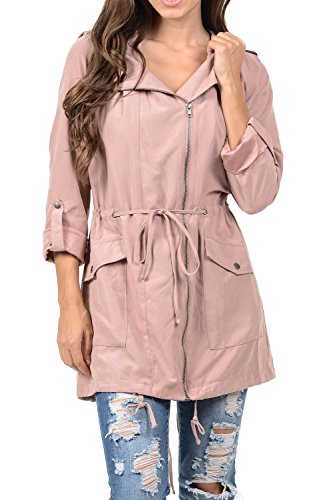 Hooded 3/4 Length Leather Coat - Auliné Collection Womens Peach Skin Asymmetrical Belted Lightweight Anorak Jacket Pink S