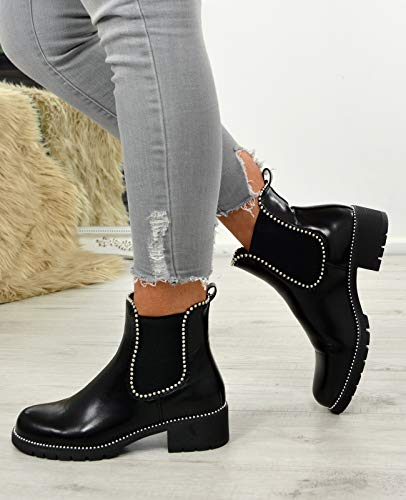 Studded Black Fashion Ankle Womens Cucu Ladies Gusets Shoes Size Elastic Boots Chelsea Pu Low Heel 8Sgxf4qwW
