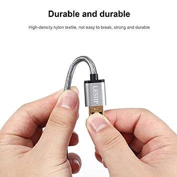 RoadRoma LESHP Nylon Trenzado de Gran Corriente USB3.0A a USB Tipo-C Cargador de Datos 1M Cable Gris Oscuro 1M