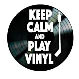 Keep Calm and Play Vinyl Quote on a Record Album wall decor gift for music lovers old school
