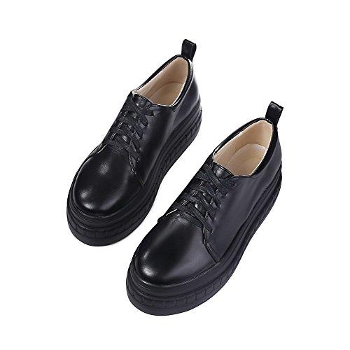 AllhqFashion Damen Hoher Absatz Weiches Material Schnüren Rund Schließen Zehe Pumps Schuhe Schwarz
