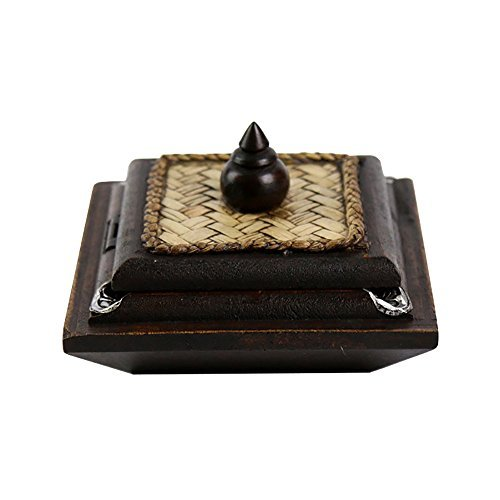 Mural Elephant Wood (Mural Art Thailand Wooden Ashtray Carved Handicraft with Elephant Silver Plated and Covered by Bamboo Weaving Lid Cigarette Ash Holder Container (Medium))