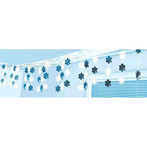 Amscan Blue and White Foil Snowflake Hanging Banner | Christmas Decoration