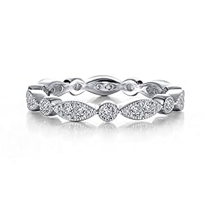 Lafonn Classic Sterling Silver Bonded with Platinum Simulated Diamond Stackable Ring (0.32 CTTW)