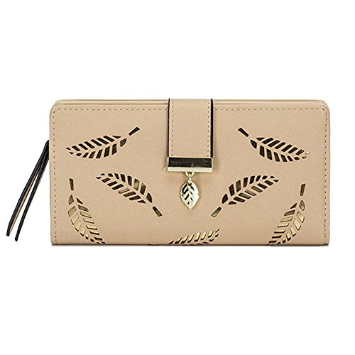 Doremy Women's Wallet Soft Nubuck Leather Bifold Long Lady Purse with Gold Leaves Decoration Multi-card Slots (Light (Light Brown Nubuck Leather)