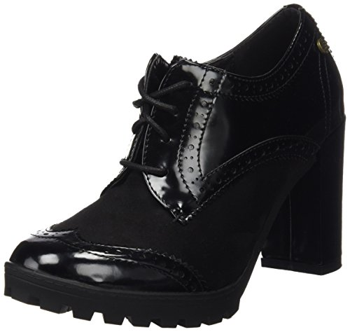 XTI Botin Sra C. Combinado Negro, Zapatos de Cordones Oxford para Mujer Negro (NEGRO)