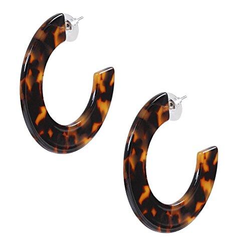 Tortoise Acetate - PHALIN JEWELRY Acrylic Earrings Hypoallergenic Resin Hoop Earrings Set for Women