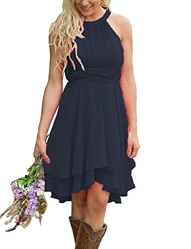 XingMeng Short A Line Halter Chiffon Prom Homecoming Bridesmaid Dresses Navy US 4
