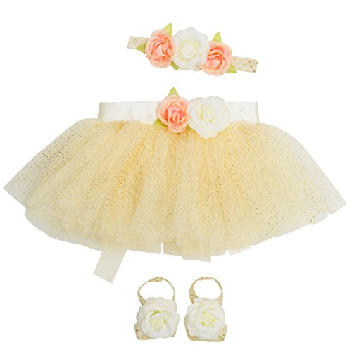 Newborn Girl Tutu Set Skirt with Headband Photography Prop,Pale Yelow,0-12 Months (Newborn Ballerina Outfit)