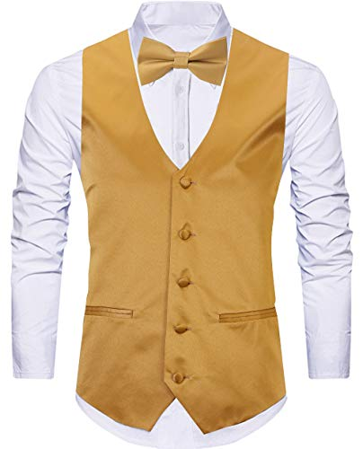 WANNEW 4pc Mens Tuxedo Vest Suit Vest Paisley Vest Set, with Bow Tie, Neck Tie & Pocket Hanky (X-Large, Gold) (Gold Vest And Bow Tie Set)