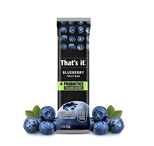 Thats it. Probiotics Blueberry Fruit Bar Keto Friendly Snacks for weight loss | Food, 2 Billion CFU,Probiotic for Men, Women, Kids, All Natural Ingredients, Paleo, Allergen Friendly (10 Pack)