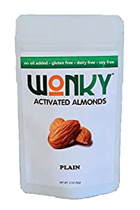 Wonky Plain Activated Almonds - Case of 8 - 2 ounce bags