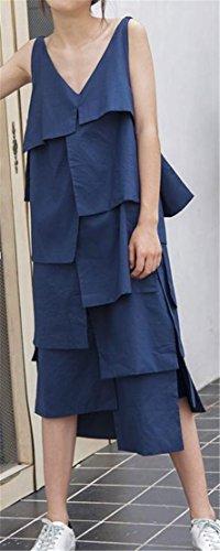 Swing Long Ruffled Sundress Cromoncent Irregular Backless Retro Navy Dress Women 7S6qYwqZ