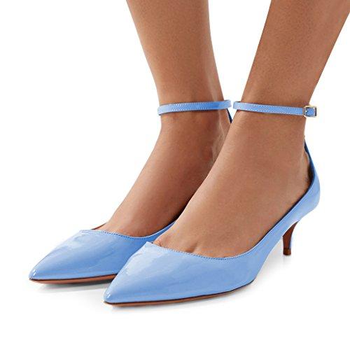 FSJ Women Versatile Pointed Toe Pumps Mid Kitten Heels Slim Ankle Strap Mary Jane Shoes Size 4-15 US Skyblue Z2XyUBQ