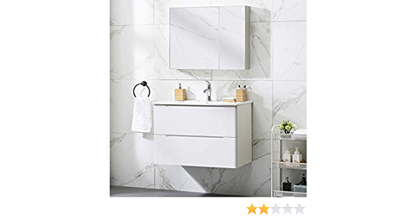 "Modern 29/""White Wall-Mounted Bathroom Vanity,2-Drawers Bathroom Sink Storage Cabinet Vanity Combo Set with White Integrated Ceramic Countertop Vessel Sink"