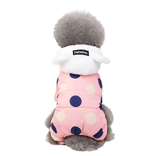 Outeck Polka Dot Pets Down Jacket for Dogs Cats, Quilted Padded Pets Jacket with Ear Hooded Winter Cute Dogs Cat Pets Clothes for Puppy Kitten (S, Pink) (Cat Down Jacket)