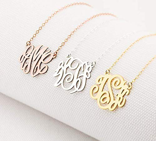 Custom Monogram Necklace, Dainty Name Necklace Personalized Initials Necklace Sterling Silver Charm Wedding Gift for Bridesmaid