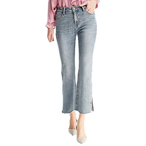 Svasata Chic Casual In Zhiyuanan Cropped Pantaloni Chiaro Denim Jeans Split A Blu Vita Donna B55x8qpa