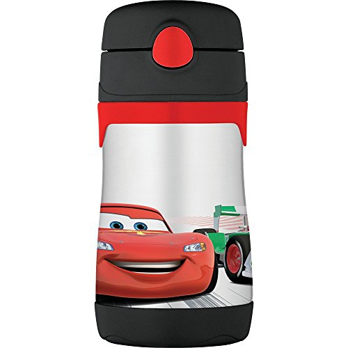 Thermos Vacuum Insulated Stainless Steel 10-Ounce Straw Bottle, Cars