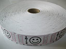 1 X 2000 White Smile Single Roll Consecutively Numbered Raffle Tickets