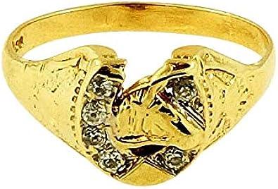 Anillo de oro amarillo de 9 quilates con diamante de imitación para caballo (tamaño P 1/2), cabeza de 9 x 10 mm