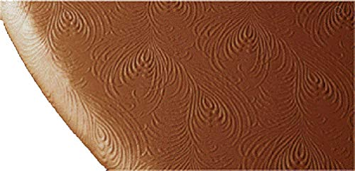 Round Vinyl Elastic Edge Stretch to Fit Warm Terra Cotta Sculpted Table Cover 36 -44