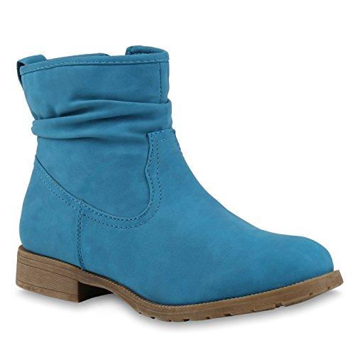 Stiefelparadies Damen Schlupfstiefel Wildleder-Optik Stiefel Schnallen Schuhe Boots Gefütterte Stiefeletten Flandell Blau
