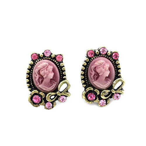 (Light Pink Ribbon Cameo Stud Earrings Post Fashion Jewelry)