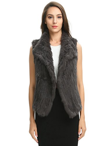 Waterfall Design - Ferand Women's Elegant Soft Rabbit Knit Fur Winter Vest in Waterfall Design, Dark Grey, Large