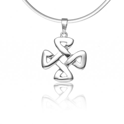 (925 Sterling Silver Celtic Knot Strength Pendant Necklace, 18 inches - Nickel)