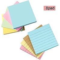 Notas autoadhesivas, Notas adhesivas, Marcador colorido, 7.5 x 7.5 cm, 100 hojas por bloc, 8Pads / paquete