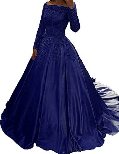Satin Navy Ball Wedding Long Sleeve Dress Lace s Long Women Dreamdress Party Train Blue wxA1f6TYqS