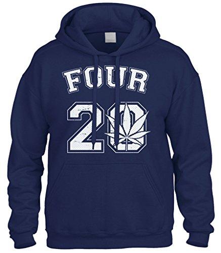 Smoke Jumper Mens New (Cybertela Four 20 Marijuana Weed 420 Sweatshirt Hoodie Hoody (Navy Blue, Large))