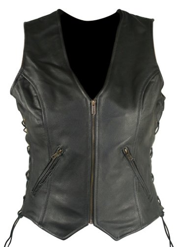 Womens Black Leather Vest (Xelement B277 Classic Womens Black Side Lace Cowhide Leather Motorcycle Vest - Medium)