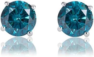 1/3 Carat Premium Blue Diamond Solitaire Screw Back Stud Earrings Pair in 14k