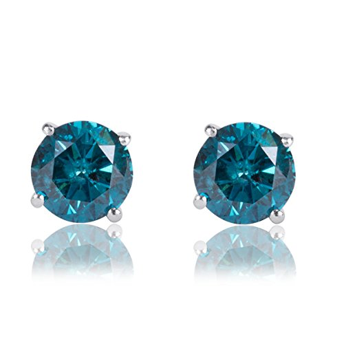 1 Carat Premium Blue Diamond Solitaire Screw Back Stud Earrings Pair in 14k White Gold